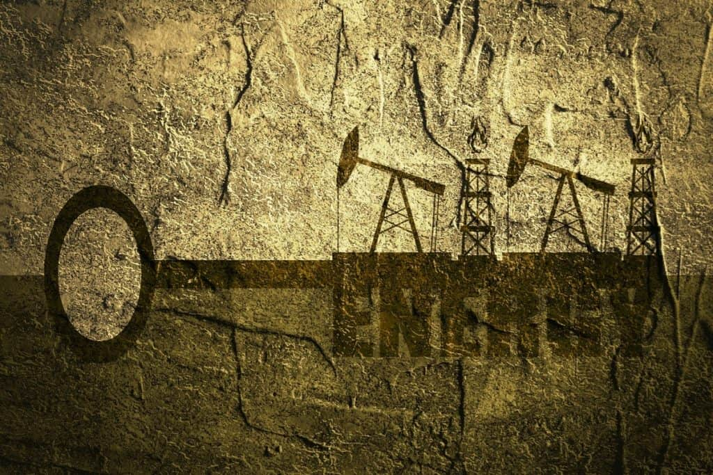 Key with energy word and mining equipment icons vector concept. Oil and gas industry relative metaphor. Concrete textured.